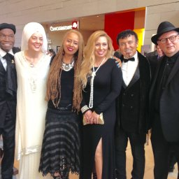 59th PRE GRAMMY MEET & GREET (Santosh, Dorie, Tom Scott, David Langoria & his wife).jpg
